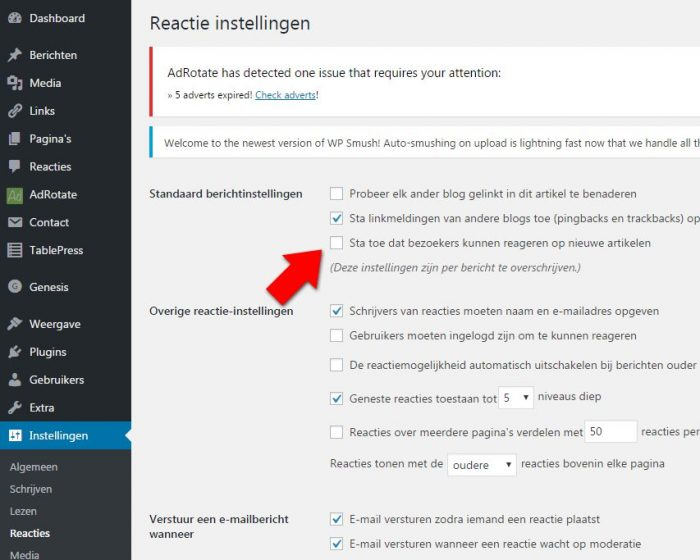 Wordpress blog reacties comments uitschakelen