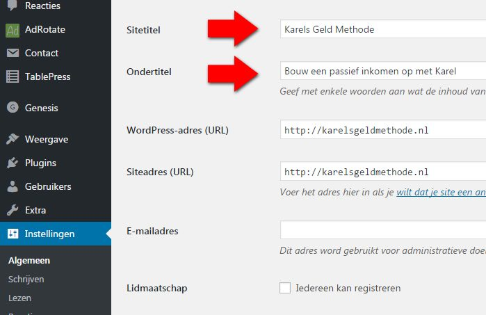 Blog starten WordPress titel en tagline veranderen