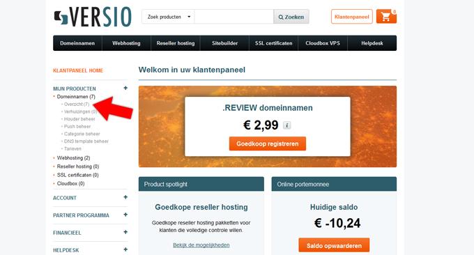 Niche affiliate website maken klantenpaneel Versio