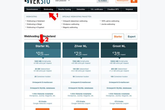 versio klantenpaneel webhosting pakketten goedkoop