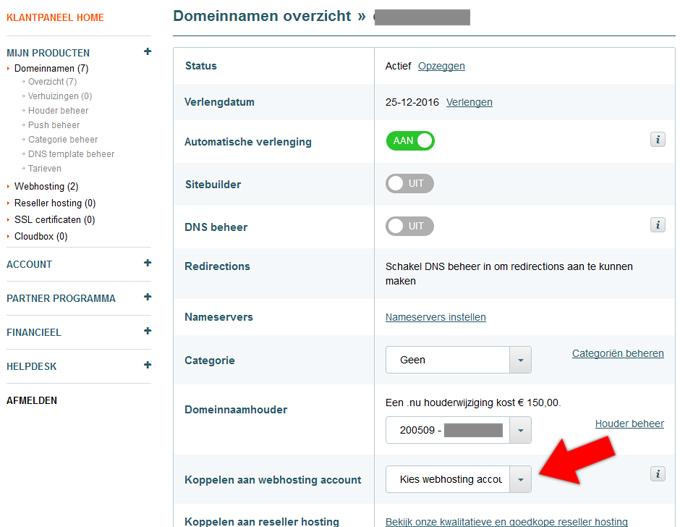 Versio domein koppelen aan webhosting