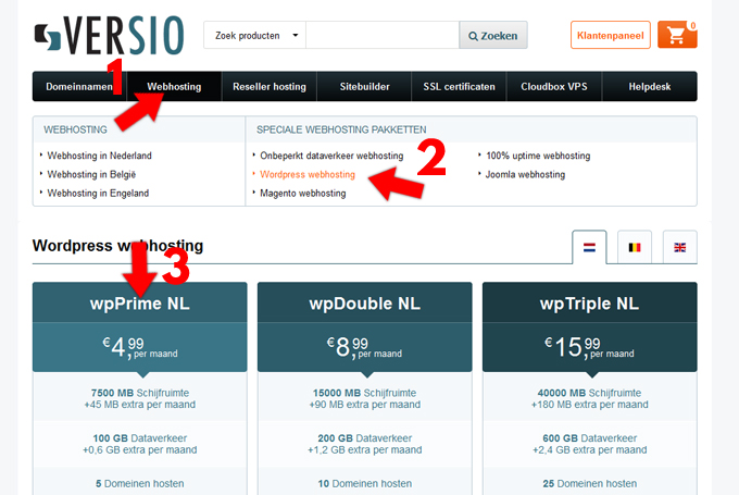 Versio WordPress hosting