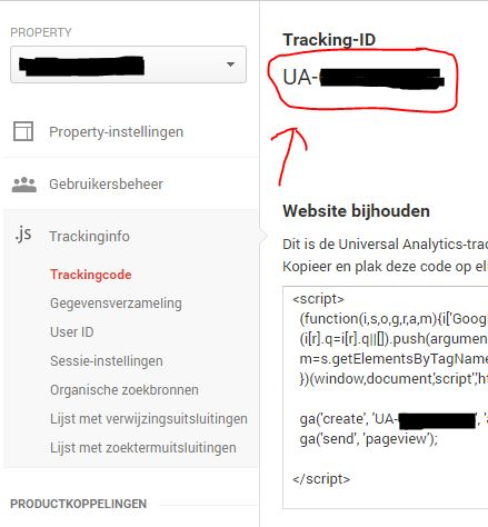 Google Analytics tracking ID kopieren