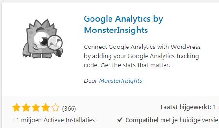 Google Analytics monsterinsights installeren