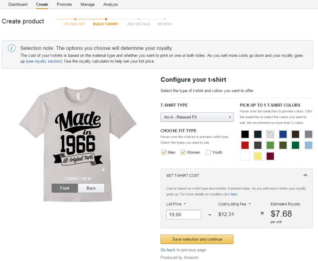 merch by amazon kleuren