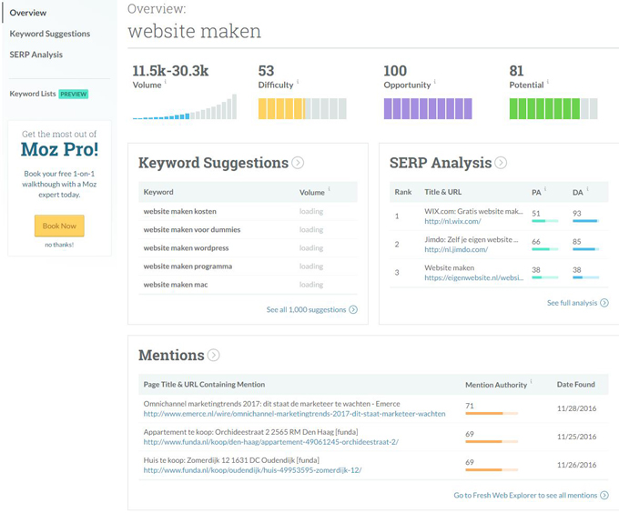 keyword research tool Moz explorer