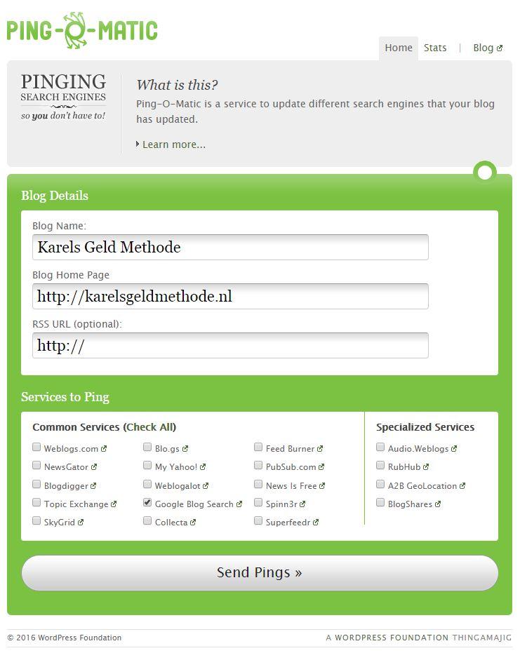 pingomatic blog promotie